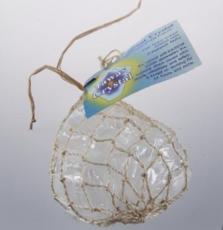 3 Кристалла природной формы, разного веса (45-55гр.)  в сетке, плетеной из пальмы Абака (общий вес 150 гр.)